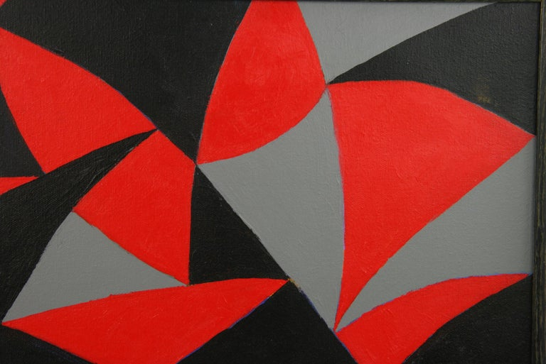 Black and Red Geometric Abstract Painting For Sale 2