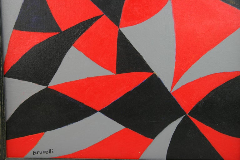 Black and Red Geometric Abstract Painting For Sale 4