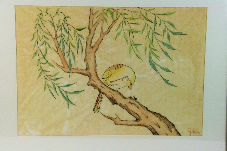 Bird on a Perch Watercolor