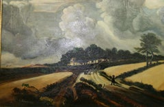 Antique Impressionist  Dutch Landscape Gathering Storm Clouds 1920