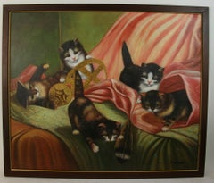Litter of Kittens animal Painting