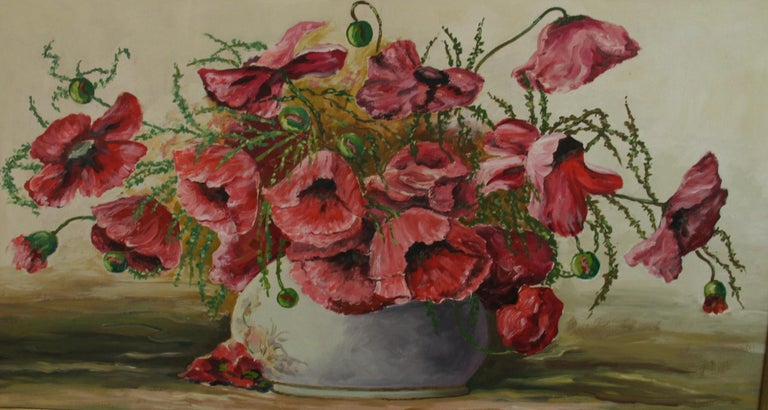 Oversized Bouquet of Poppies Stillife  painting - Painting by Varna Dulgerow