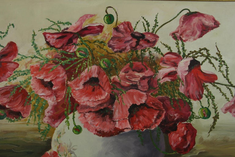 Oversized Bouquet of Poppies Stillife  painting - Brown Landscape Painting by Varna Dulgerow