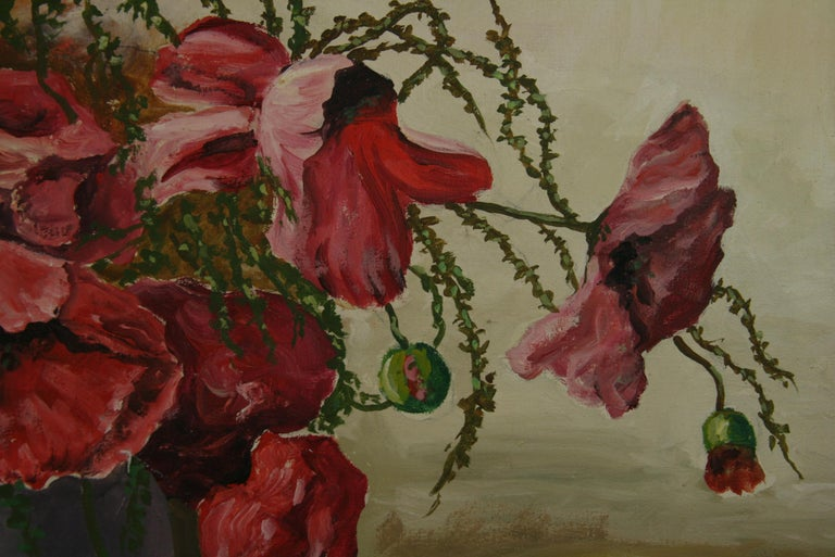 5-3746 Still  life painting of a bouquet of poppies in a round vase Set in a custom wood frame with gilt detailing
