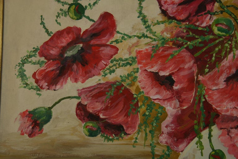 Oversized Bouquet of Poppies Stillife  painting For Sale 2