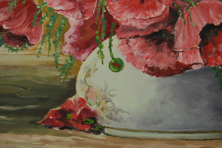 Oversized Bouquet of Poppies Stillife  painting For Sale 1
