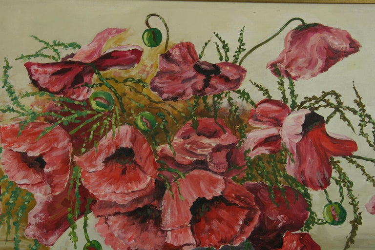 Oversized Bouquet of Poppies Stillife  painting For Sale 4