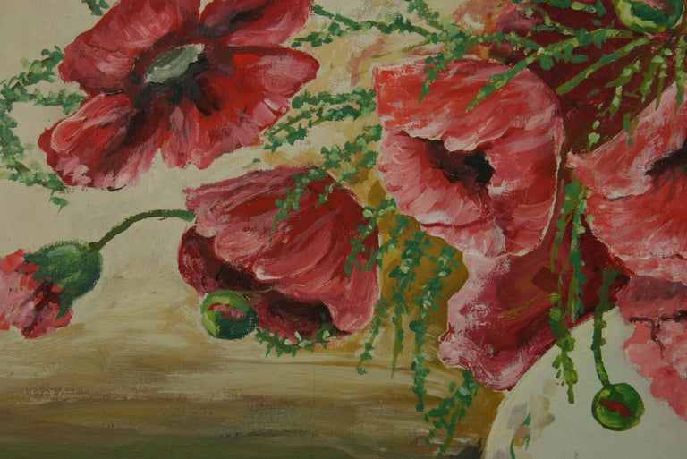 Oversized Bouquet of Poppies Stillife  painting For Sale 5