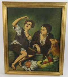 Young Italian Boys With Dog Oil Painting