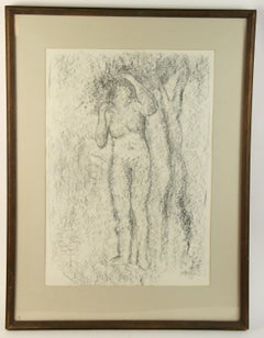 Woman Under A Tree Charcoal Drawing by Dammisse