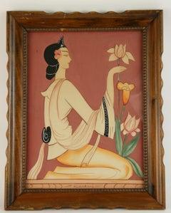 Art Deco Figurative  Gouache of A Woman with a Tulip