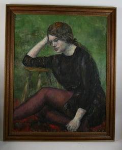 Pensive Female Figurative Oil Painting
