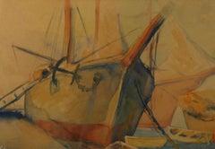 American Impressionist Harbor Landscape Watercolor by F.Nadai 1940