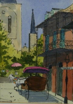 Modern American Watercolor Orleans St Carriage Ride Louiasians Landscape