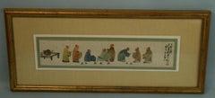 Asian Watercolor Figurative Chinese Tea Cerimony