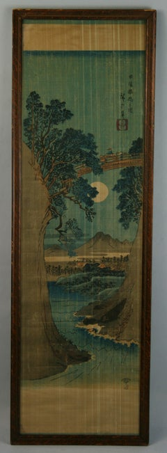 Antique Chinese landscape ink painting on Fabric in Blue