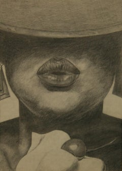 Charcoal Female Drawing Delicious Cherry Lips 1968