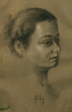 Impressionist  Female Charcoal Portrait Drawing 1940