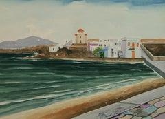Harbor View Mykonos Greece  Landscape Watercolor