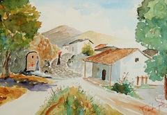 Greek Village Scene Landscape Watercolor