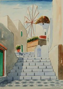 View of Windmill landscape Watercolor on Mykonos Greece 1940