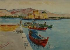 Harbor View Greek Fishermen Watercolor Landscape Mykonos 1940