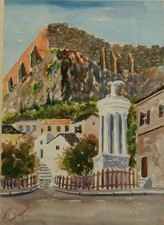 Old Athens Plaza Landscape Watercolor 1940