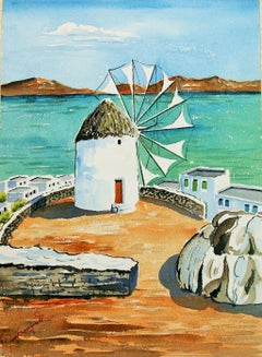 Windmill on Mykonos landscape Watercolor 1940