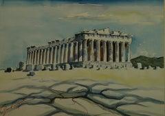 Parthenon Greece Watercolor landscape 1940