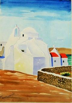 Mykonos Greece Landscape Watercolor 1940