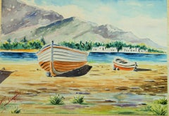 Seaside Mountain View Watercolor Landscape Greek Inland 1940