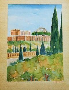 Landscape Watercolor of the Acropolis in Greece 1940