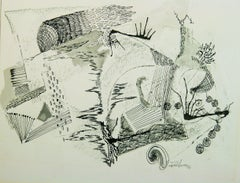 Mid Century Abstract Drawing on Artist Paper