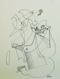 Mid Century Modern Abstract Guitar Player Ink Drawing