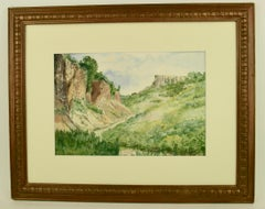 Impressionist French Valley Landscape  Watercolor