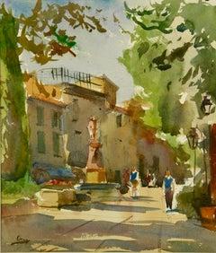 Impressionist Aix en Provence Landscape  Watercolor