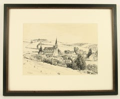 Quaint  French Village Ink Drawing