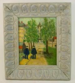 Impressionist Figurative  on Old  Paris Street Landscape
