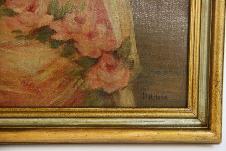 o Oil on canvas applied to a board,set in a gilt wood frame.Signed by H.K. Mann Image size 19 H x 15 .Wear on canvas