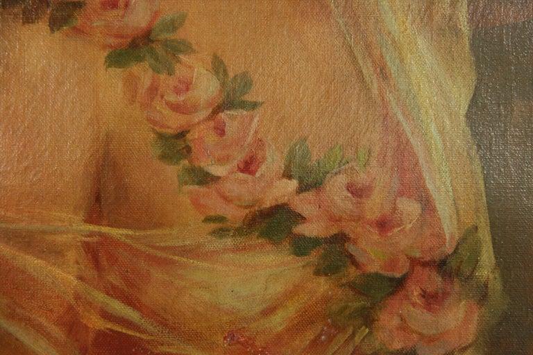 Antique  Female Portrait oil  Painting 1890 For Sale 1