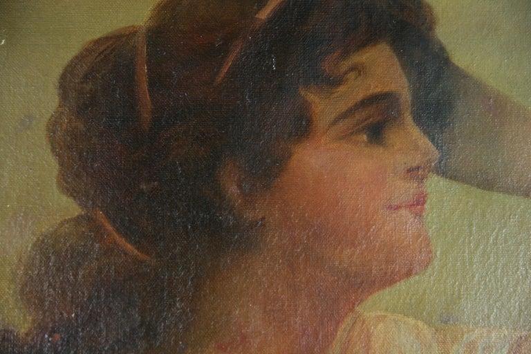 Antique  Female Portrait oil  Painting 1890 - Brown Portrait Painting by H.K.Mann