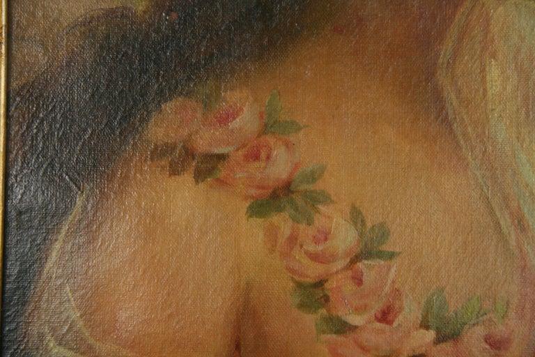 Antique  Female Portrait oil  Painting 1890 For Sale 3
