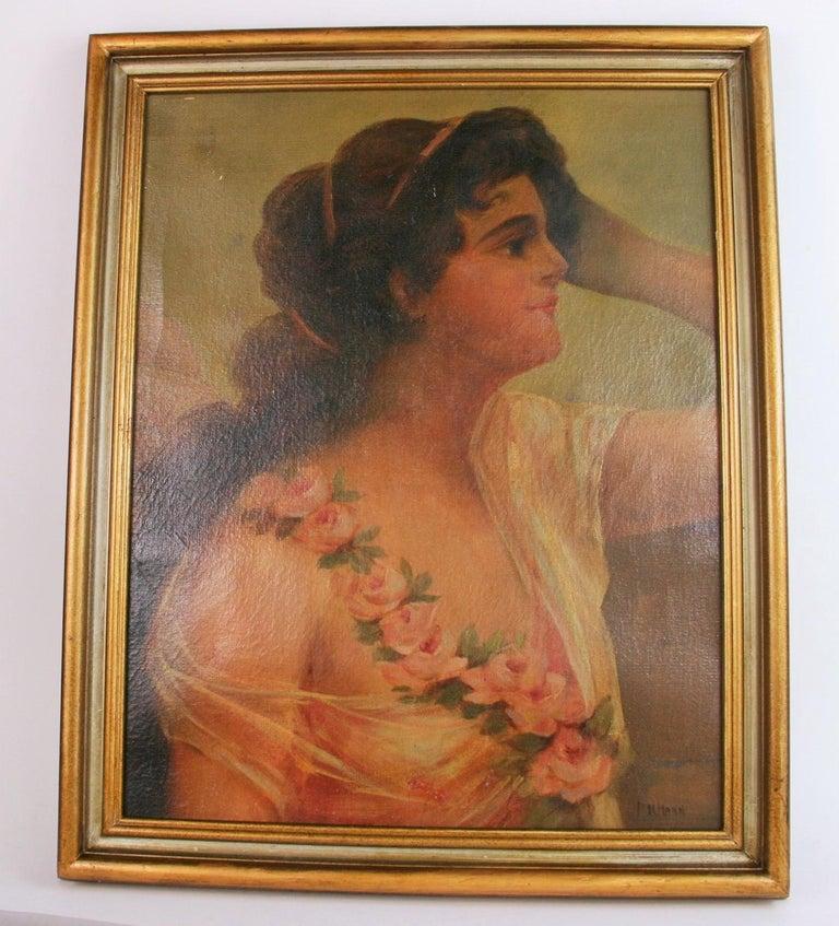 Antique  Female Portrait oil  Painting 1890 For Sale 4