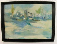 Abstract Blue City Landscape  Painting