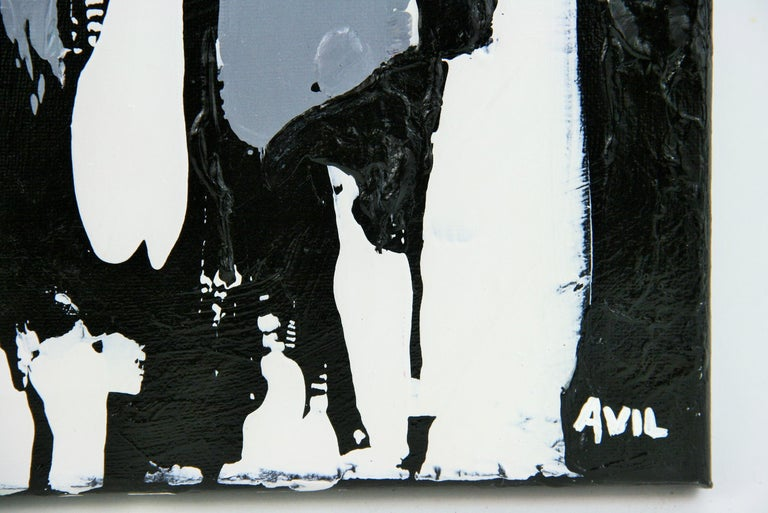 5-3290 Deep Space, a contemporary black and white acrylic on canvas signed by Avil. Unframed