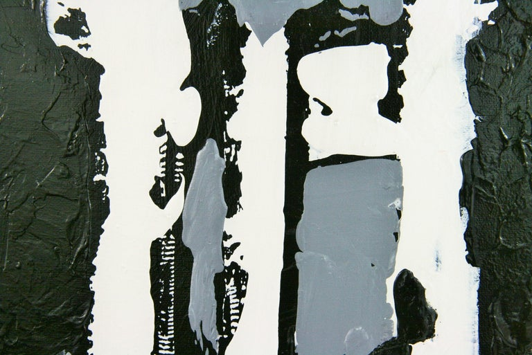 Monochromatic  Black and White  Abstract  Painting For Sale 1