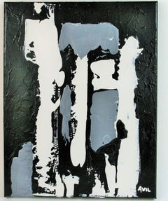 Monochromatic  Black and White  Abstract  Painting
