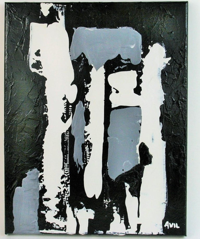 Avil Abstract Painting - Monochromatic  Black and White  Abstract  Painting