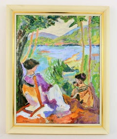 Impressionist Figurative Lakeside Mother and Child Landscape