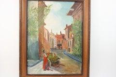 Italian Fruit Vendor Street Scene Landscape Painting